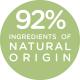 92% ingredients of natural origin