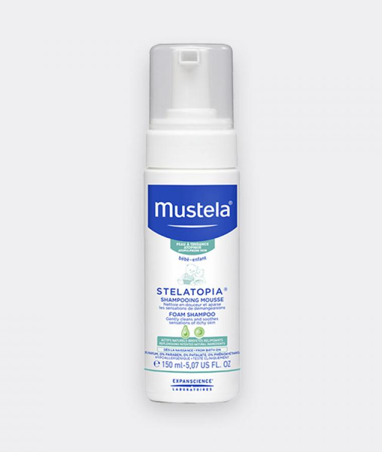 Mustela Stelatopia Foam shampoo for babies with atopic-prone skin